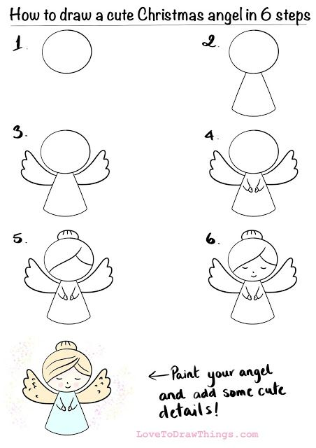 How To Draw A Cute Christmas Angel In 6 Steps Easy Christmas Drawings Christmas Art Projects Christmas Drawing