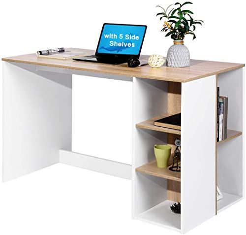 Amazing Offer On Office Computer Desk Storage Study Work Desk 5 Shelves Students Writing Desk Home Laptop Study Table Modern Reception Room Tables Large Wor In 2020 Office Computer Desk Desk Storage Home Office
