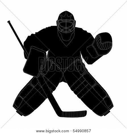 Silhouette Hockey Goalie Poster Hockey Goalie Goalie Hockey