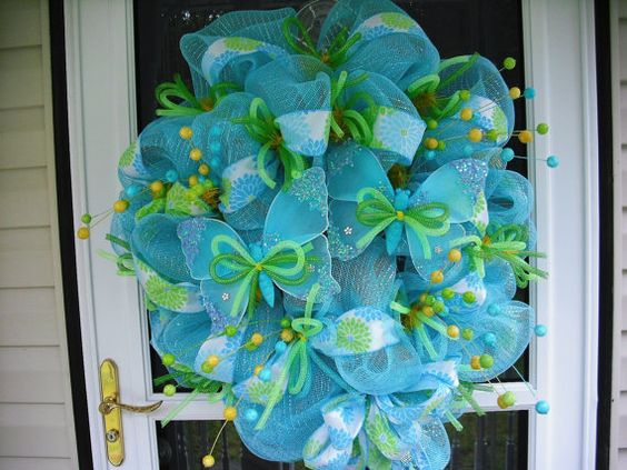 Sky Blue & Butterflies Summer Wreath by WreathsEtc on Etsy, $78.00
