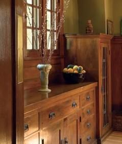 Built-in cabinetry in an Arts & Crafts dining room. Built-ins eliminated the need for all dining room furnishings except a table and chairs.