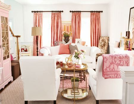Pink living room By Home decorating trends -- see more at LuxeFinds.com