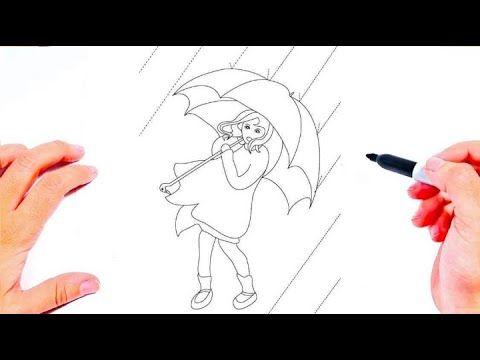 رسم فتاة تحمل مظلة تحت المطر رسم سهل طريقة رسم بنت مع مظلة تعليم الرسم Easy Drawings Youtube Art Humanoid Sketch