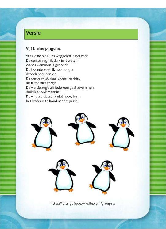 Afbeeldingsresultaat voor versje vijf kleine pinguins