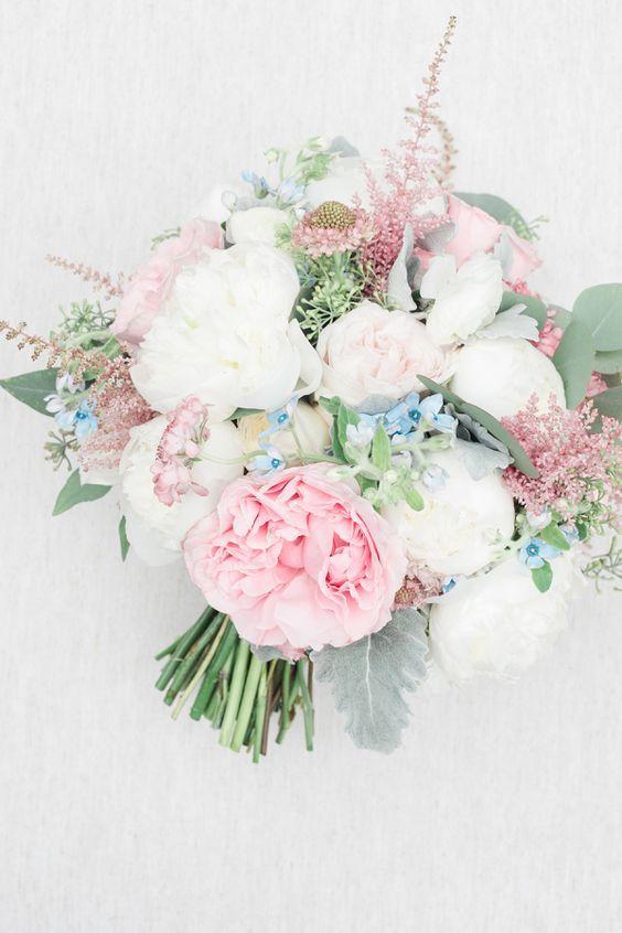 Bukiet Slubny Roz Blekit Biel Zielen Astilbe Wedding Wedding Bouquets Floral Wedding