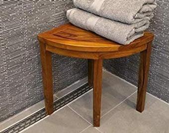 Corner Teak Wood Bath Spa Shower Stool Corner Three Shelf Storage Fully Assembled In 2020 Teak Wood Teak Shower Seat Teak Bath Stool