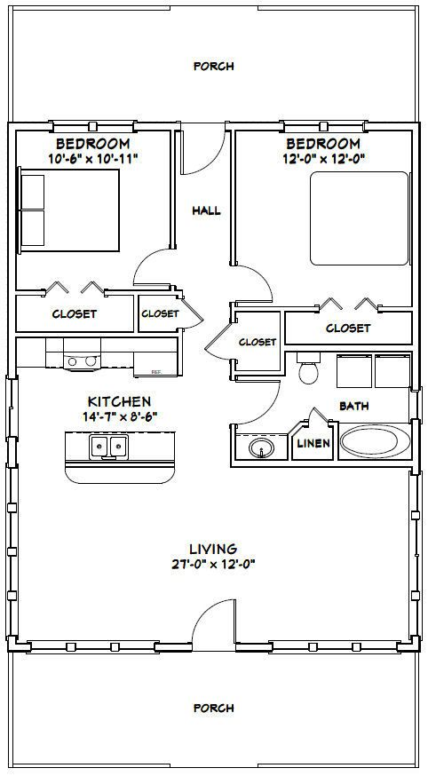 Without Hall We Could Have A Huge Storage Closet Or Built In Desk And Shelves In Rooms Cottage Plan House Plans How To Plan