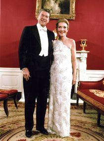 Ronald and Nancy Reagan posing before the inaugural balls, 1981.