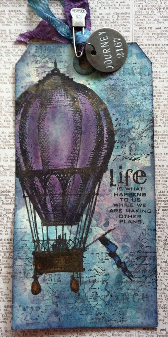 Richele Christensen: Up, Up, and Away Tag tutorial. Tim Holtz, tag, hot air balloon, stamps, paper crafts, art, card making