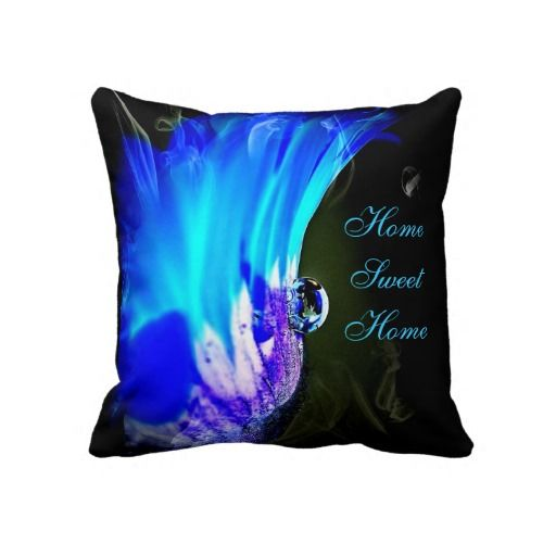 Turquoise Blue & Purple Flower Throw Pillow All About the Bedroom Pinterest Purple flowers ...