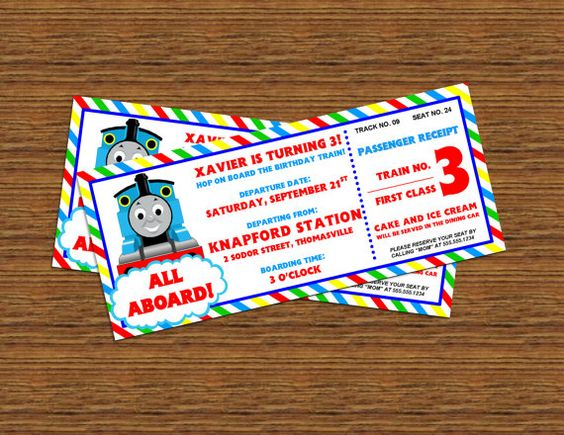 personalized thomas friends printable train ticket invitations by aedesignsny all
