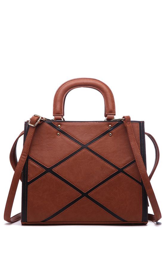 Acacia Patch Work Satchel In Brown