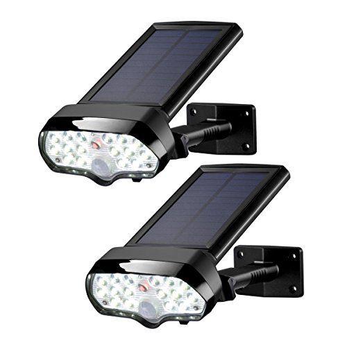2 Pack 100 LED Solar Sensor Light Security Powered Garden Motion floodlight UK