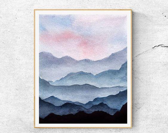 Fine Art Prints Contemporary art Watercolor Mountains | Etsy