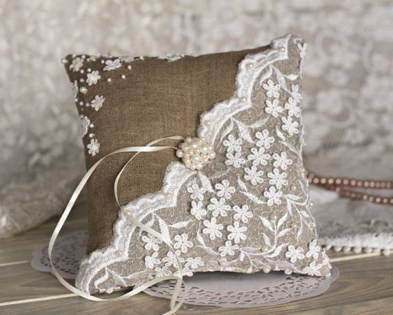 Vintage Wedding ring pillow with lace and burlap by RusticBeachChic, $35.00: