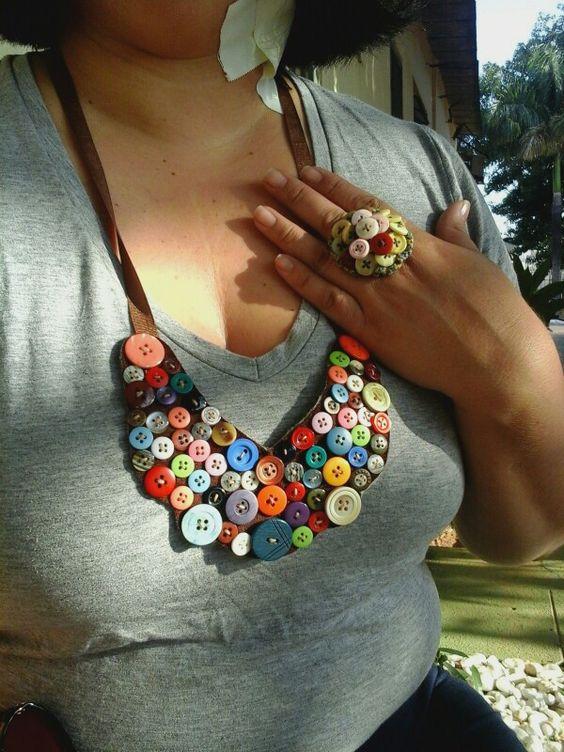Anel e colar feito de Botões  #botoes #colar
