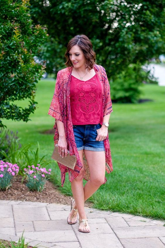 Kimono Outfit with Denim Shorts