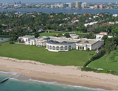 Donald Trump's Palm Beach house is worth a whopping $125 million, and is 62,000 square feet. It features a library, home theatre, wine cellar, fitness studio, 7 bedrooms, 15 bathrooms, and a 100 foot long swimming pool. Impressive, huh?