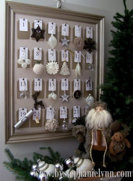 Pottery Barn Inspired Framed Christmas Ornament Advent Countdown Calendar