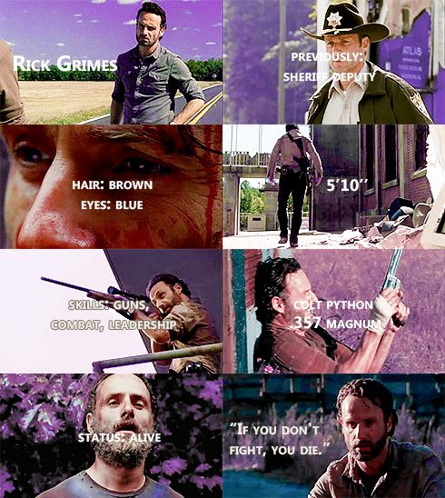 Knowing About Rick Grimes #TWD <- If you don't fight, you die. YES!