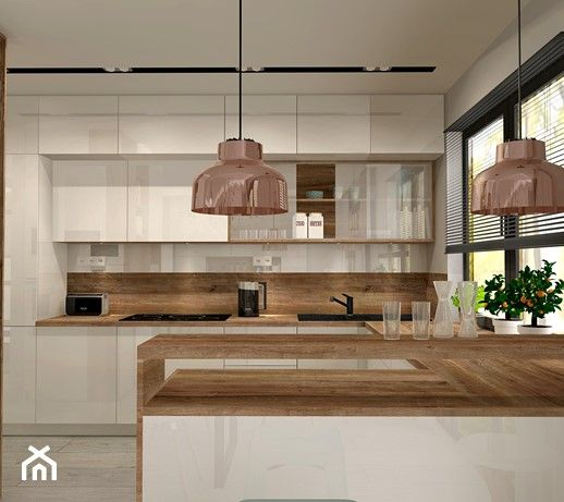 Aranzacja Kuchni I Salonu W Domu Jednorodzinnym Duza Otwarta Kuchnia W Ksztalcie Litery G Styl Nowoczesny Zdje Kitchen Layout Kitchen Design Home Kitchens