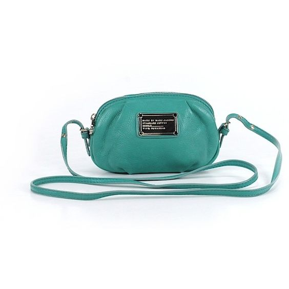 Pre-owned Marc by Marc Jacobs Leather Crossbody Bag: Teal Women's Bags ($61) ❤ liked on Polyvore featuring bags, handbags, shoulder bags, teal, crossbody purses, leather crossbody handbags, leather shoulder bag, marc by marc jacobs crossbody and leather crossbody purses