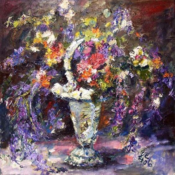 Impressionist Lavender Flower Still life $799.00 - offered by www.finearthomedecor.com by artist Ginette Callaway of www.ginettefineart.com