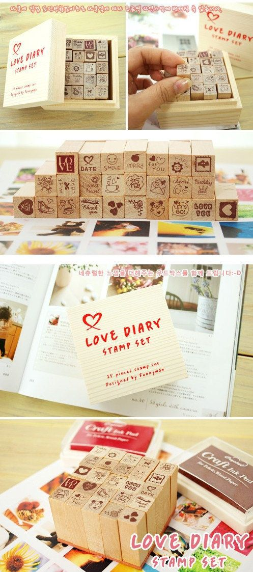 Wooden Rubber Stamp Box 25 Pcs of Korea DIY by cinderella201021, $6.50