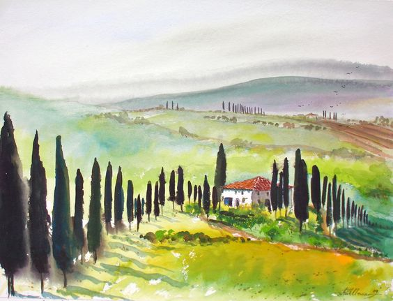 im Garten der TOSCANA...bei Siena-Umbrien..AQUARELL.... 56x76cm auf Fabriano 350gr,....- von..-Kunst-Maler..-Thomas Mühlbauer