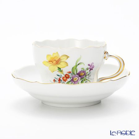 Meissen (Meissen) basic flower (3 flowers) 060110 / 00582 / 26 Coffee Cup & Saucer 200 cc Motiv number26 narcissus