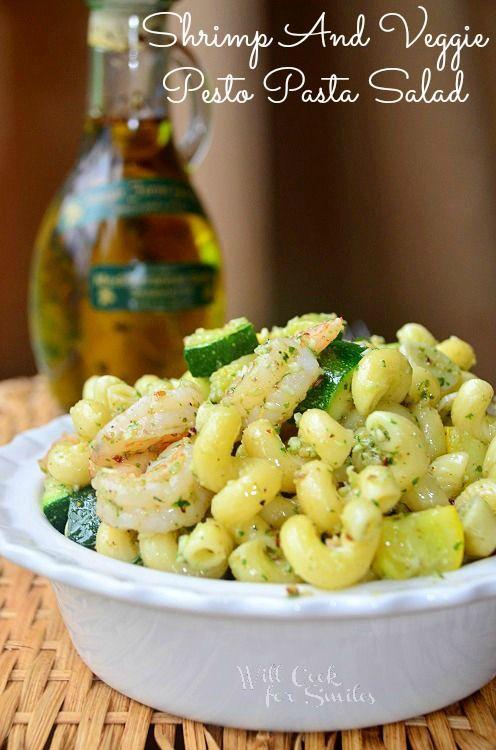 Shrimp & Veggie Pesto Pasta Salad | from  willcookforsmiles.com