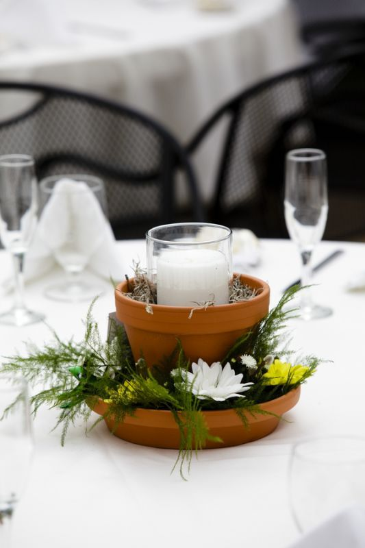 Flower pot centerpiece found on weddingbee centers