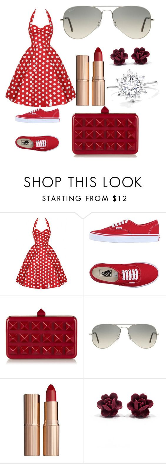 """""""summer is awesome"""" by slandinez ❤ liked on Polyvore featuring Vans, Valentino, Ray-Ban and Charlotte Tilbury"""