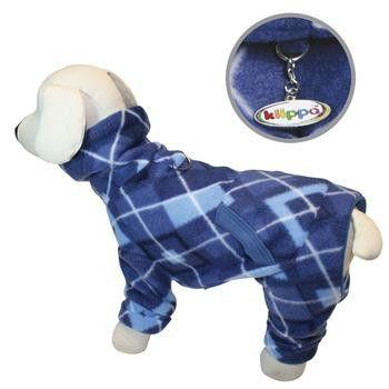 Blue Argyle Turtleneck Fleece Dog Pajamas by Klippo