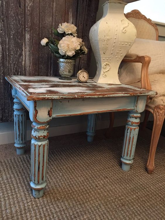 Blue End Tables Living Room Furniture Painted Chalk Paint