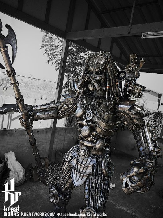 230cm Recycled Metal Predator with spear by Kreatworks on Etsy