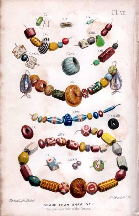 Watercolour of bead sets from the Anglo-Saxon cemetery of Sarre, Kent.