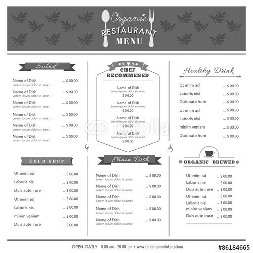 Vector Restaurant Menu Design Template layout Organic food Menu - restaurant menu design templates