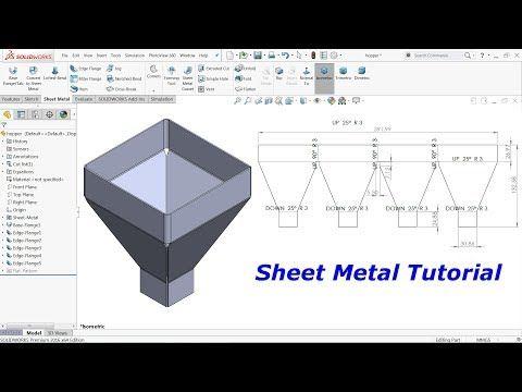 Solidworks Sheet Metal Tutorial Hopper Youtube In 2020 Sheet Metal Drawing Sheet Metal Sheet Metal Work