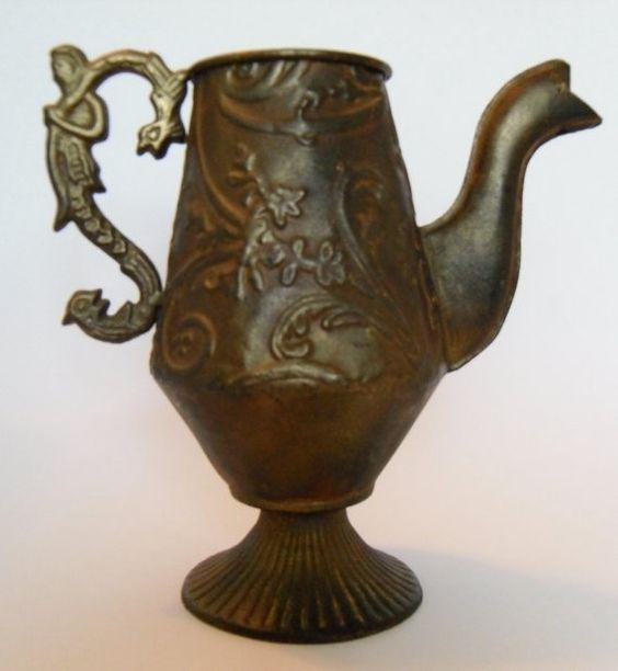 Ornate Metal Teapot Vintage Rustic Decor Vase by CnCVintageFinds