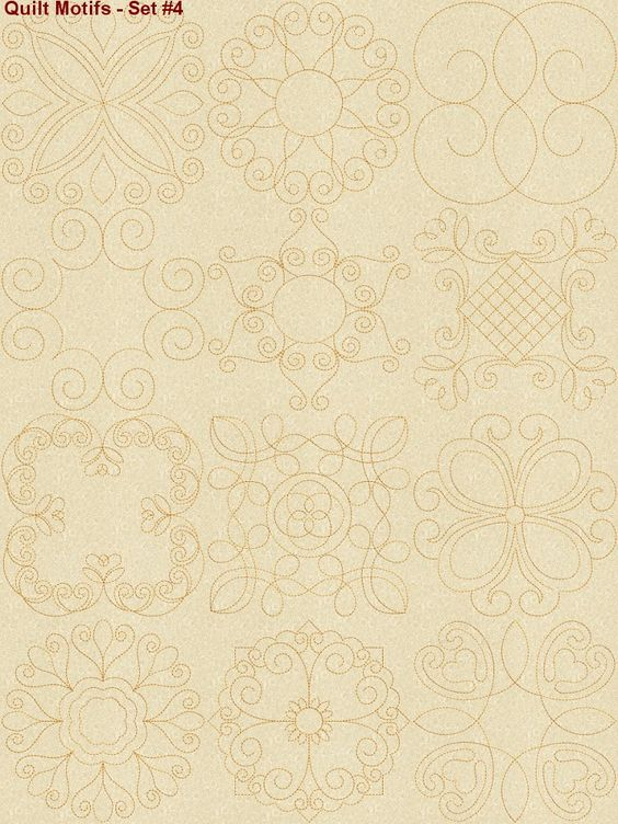 Quilting Line Templates : Continuous line quilting motifs machine embroidery designs set4 Quilting Tutorials & Patterns ...