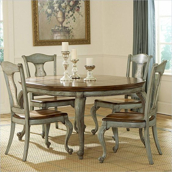 Pictures Of Painted Kitchen Tables: Pulaski Jolie Round Wood Top Dining Table In Hand Painted