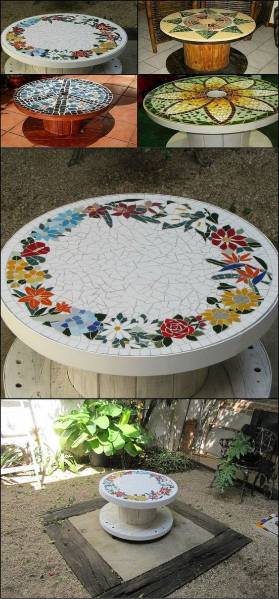 Learn How To Turn An Old Timber Spools Into A Mosaic Table  theownerbuilderne...  This furniture would be perfect as a center table for your outdoor living area. Use old, excess or unwanted materials for your mosaic design such as china, coloured tiles or glass. You could also add some wheel casters under for easier mobility.