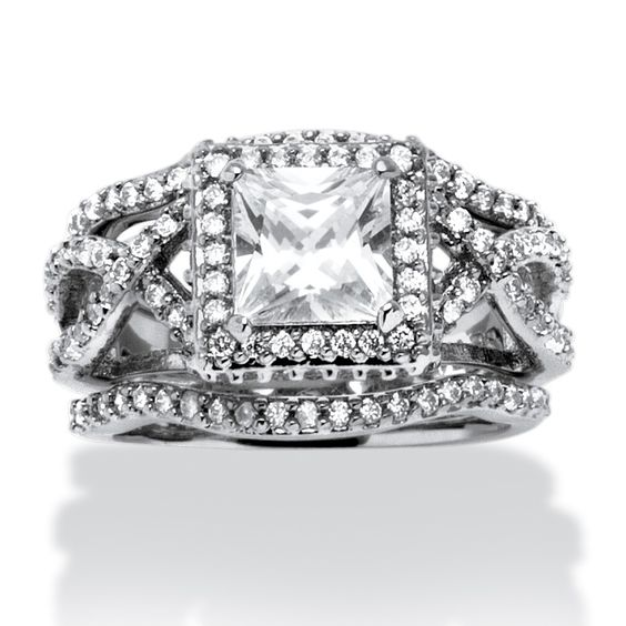 3 Piece 2.82 TCW Princess-Cut CZ Bridal Ring Set in Platinum over Sterling Silver on PalmBeach Jewelry