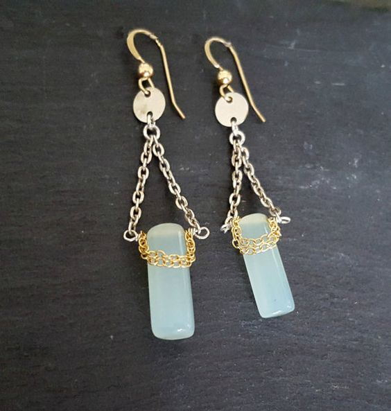 Mixed Metal Earrings Silver Gold Aqua Chalcedony by ViaLove
