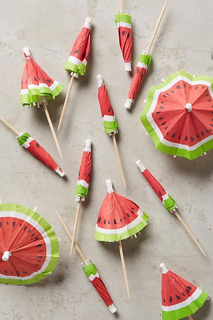 cute watermelon cocktail umbrellas
