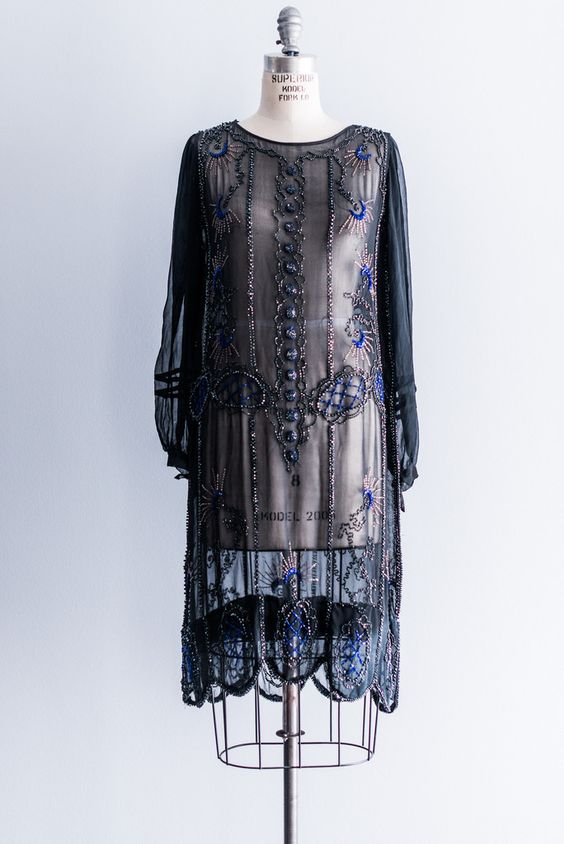 Long-Sleeved Silk Chiffon Beaded Flapper Dress – GOSSAMER VINTAGE