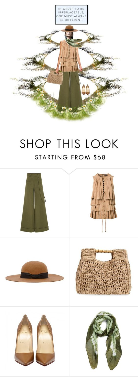 """""""Olive & Tan"""" by petalp ❤ liked on Polyvore featuring Rosie Assoulin, Balmain, Reiss, San Diego Hat Co. and La Fiorentina"""
