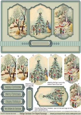 Vintage Christmas Tree Shaped Pyramage on Craftsuprint designed by Sandie Burchell - Lovely shaped panels with Vintage Christmas Tree