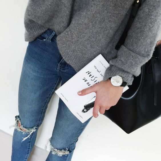Cashmere jumper, Daniel Wellington watch & Mansur Gavriel bag. Via Mija // Get all pieces here www. liketk.it/SaBA